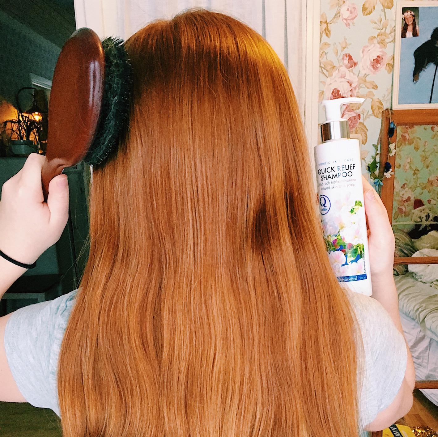 kliande hårbotten - blankt hår - q for skin - hårborste